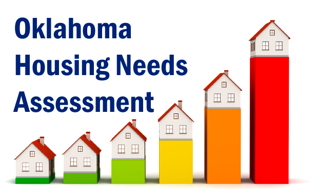 Oklahoma Housing Needs Assessment text with houses on graphs